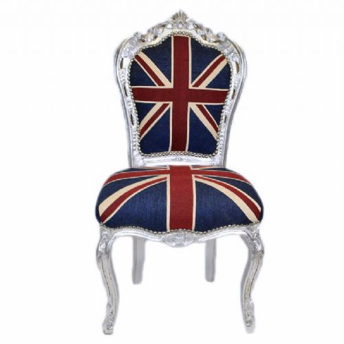 CHAIRS FRANCE BAROQUE STYLE DINING ROYAL CHAIR SILVER / UNION JACK #60ST5